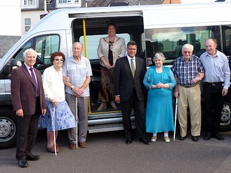 Alok and Mayor Jenny Rynn at launch of RAB minibus with Allan Futter & RAB members & supporters
